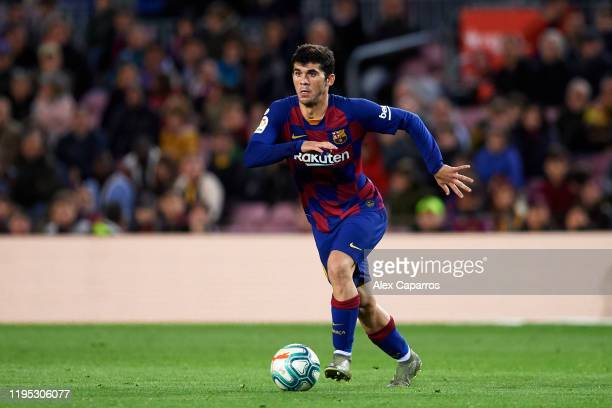 Carles Alena of FC Barcelona conducts the ball during the La Liga match between FC Barcelona and Deportivo Alaves at Camp Nou on December 21 2019 in...