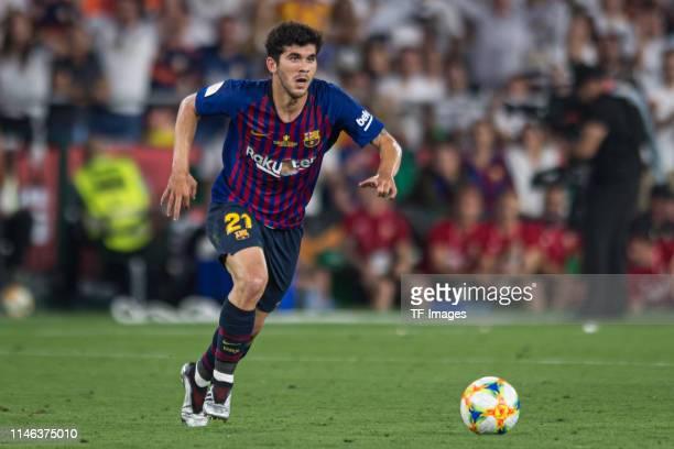 Carles Alena of FC Barcelona controls the ball during the Spanish Copa del Rey match between Barcelona and Valencia at Estadio Benito Villamarin on...