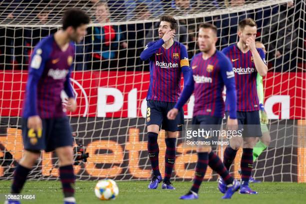 Carles Alena of FC Barcelona Gerard Pique of FC Barcelona Arthur of FC Barcelona Ivan Rakitic of FC Barcelona during the Spanish Copa del Rey match...