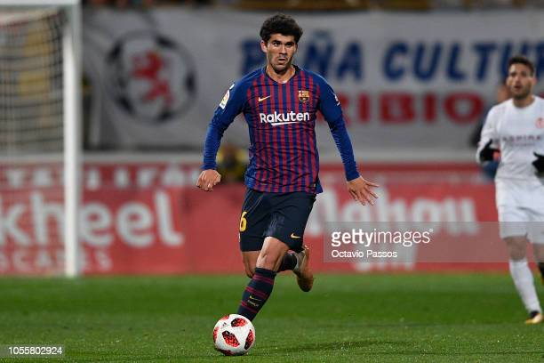 Carles Alena of FC Barcelona in action during the Spanish Copa del Rey match between Cultural Leonesa and FC Barcelona at Estadio Reino de Leon on...