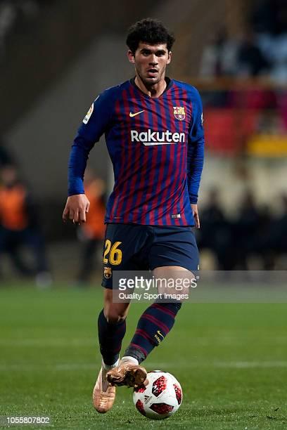 Carles Alena of FC Barcelona in action during the Spanish Copa del Rey match between Cultura Leonesa and FC Barcelona at Estadio Reino de Leon on...