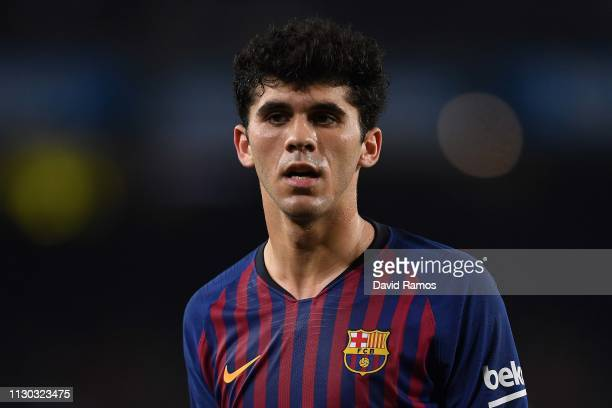 Carles Alena of FC Barcelona looks on during the La Liga match between FC Barcelona and Real Valladolid CF at Camp Nou on February 16 2019 in...