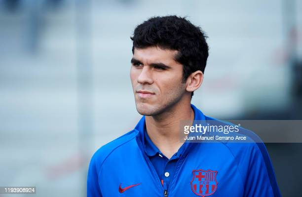 Carles Alena of FC Barcelona looks on prior to the start the La Liga match between Real Sociedad and FC Barcelona at Estadio Anoeta on December 14...