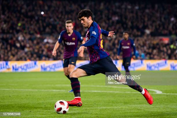 Carles Alena of FC Barcelona shoots during the Copa del Rey fourth round second leg match between FC Barcelona and Cultural Leonesa at Camp Nou on...