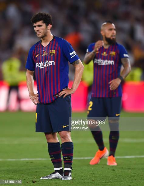 Carles Alena of FC Barcelona shows his dejection at the end of the Spanish Copa del Rey match between Barcelona and Valencia at Estadio Benito...