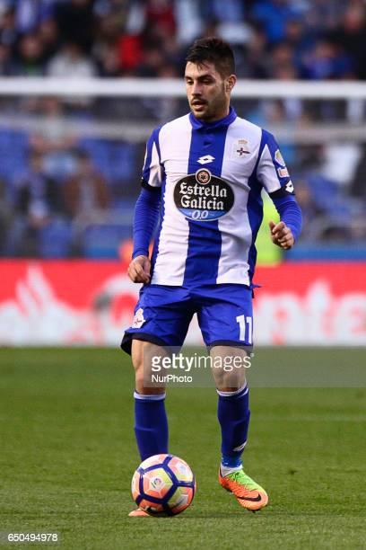 Carles Gil midfielder of Deportivo de La Coruña controls the ball during the La Liga Santander match between Deportivo de La Coruña and Real Betis...