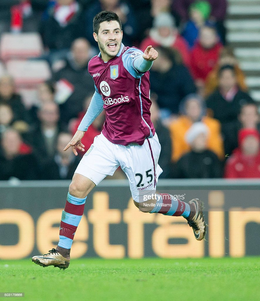 Carles Gil of Aston Villa celebrates his goal for Aston Villa during the Barclays Premier League match between Sunderland and Aston Villa at the Stadium of Light on January 02, 2016 in Sunderland, England.
