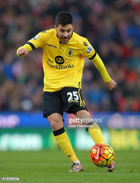 Carles Gil of Aston Villa during the Barclays Premier League match between Stoke City and Aston Villa at the Britannia Stadium on February 27 2016 in...