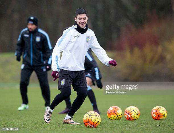 Carles Gil of Aston Villa in action during a Aston Villa training session at the club's training ground at Bodymoor Heath on March 02 2016 in...