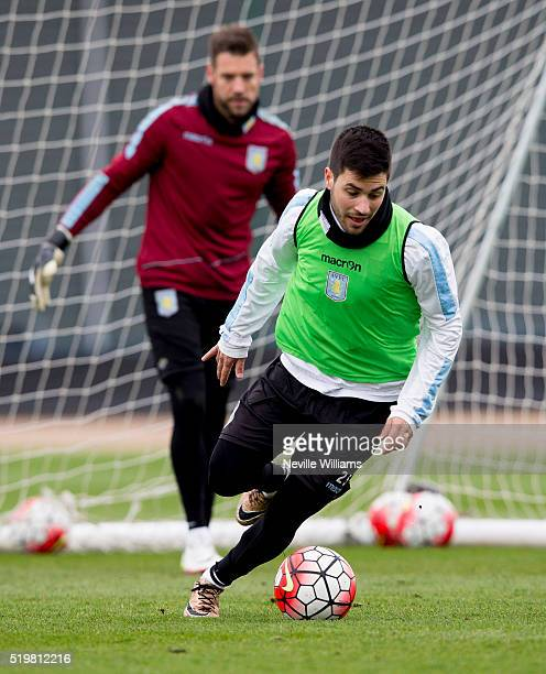 Carles Gil of Aston Villa in action during a Aston Villa training session at the club's training ground at Bodymoor Heath on April 08 2016 in...