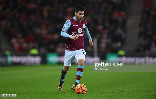 Carles Gil of Aston Villa in action during the Barclays Premier League match between Sunderland and Aston Villa at Stadium of Light on January 2 2016...