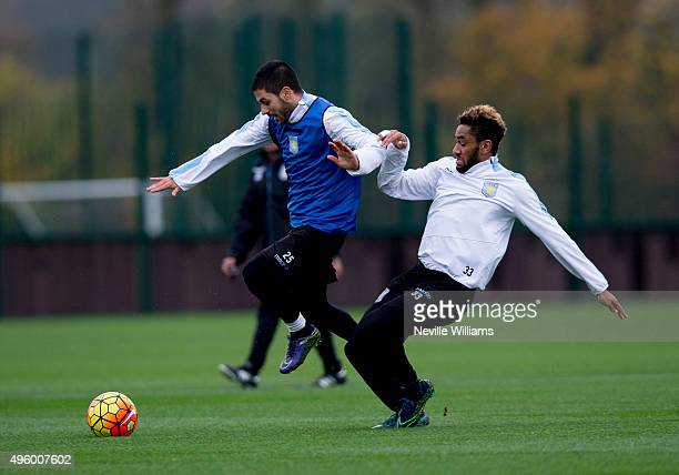 Carles Gil of Aston Villa in action with team mate Jordan Amavi during a Aston Villa training session at the club's training ground at Bodymoor Heath...