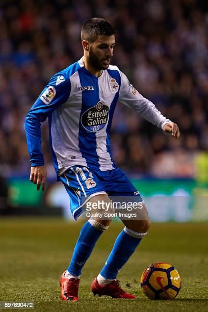 Carles Gil of Deportivo de La Coruna in action during the La Liga match between Deportivo La Coruna and Celta de Vigo at Abanca Riazor Stadium on...