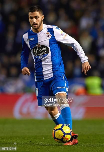 Carles Gil of Deportivo de La Coruna runs with the ball during the La Liga match between Deportivo de La Coruna and Celta de Vigo at Abanca Riazor...