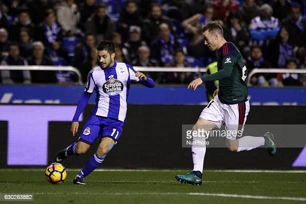 Carles Gil of Deportivo de La Coruna takes a shot during the La Liga Santander match between Real Club Deportivo de La Coruna vs Club Atletico...