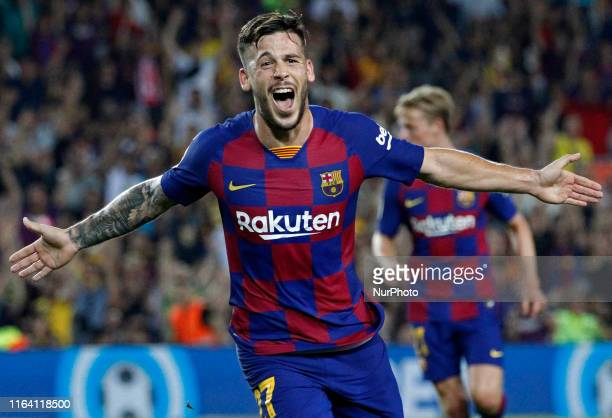 Carles Perez goal celebration during the match between FC Barcelona and Real Betis Balompie corresponding to the week 2 of the Liga Santander played...
