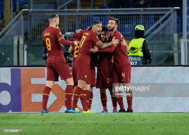 Carles Perez of AS Roma celebrates after scoring goal 10 during the UEFA Europa League round of 32 first leg match between AS Roma and KAA Gent at...