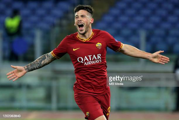 Carles Perez of AS Roma celebrates after scoring his goal during the UEFA Europa League Round of 32 first leg match between AS Roma and KAA Gent at...