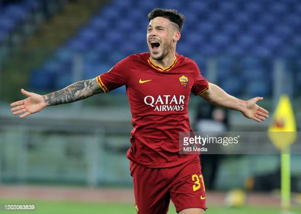 Carles Perez of AS Roma celebrates after scoring his goalduring the UEFA Europa League Round of 32 first leg match between AS Roma and KAA Gent at...