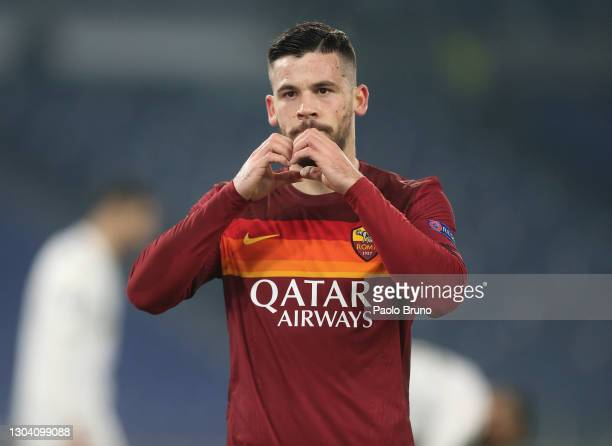 Carles Perez of A.S Roma celebrates after scoring his team's second goal during the UEFA Europa League Round of 32 match between AS Roma and Sporting...