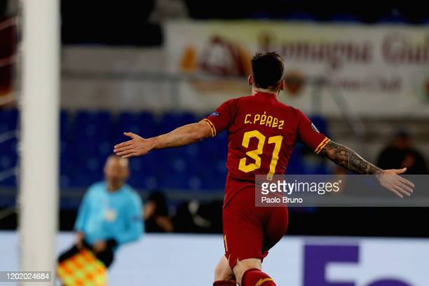 Carles Perez of AS Roma celebrates after scoring the opening goal during the UEFA Europa League round of 32 first leg match between AS Roma and KAA...