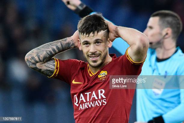 Carles Perez of AS Roma gestures during the UEFA Europa League round of 32 first leg match between AS Roma and KAA Gent at Stadio Olimpico on...