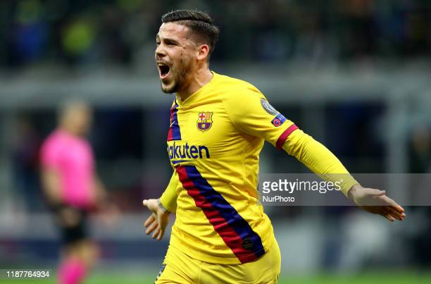Carles Perez of Barcelona celebrates after scoring the goal of 01 during the UEFA Champions League Group F match Fc Internazionale v Barcelona Fc at...