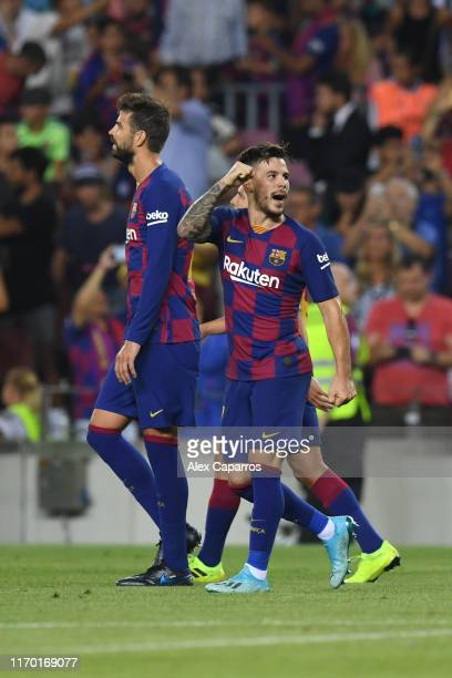 Carles Perez of Barcelona celebrates scoring his team's third goal during the Liga match between FC Barcelona and Real Betis at Camp Nou on August 25...