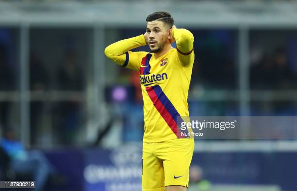 Carles Perez of Barcelona during the UEFA Champions League Group F match Fc Internazionale v Barcelona Fc at the San Siro Stadium in Milan Italy on...