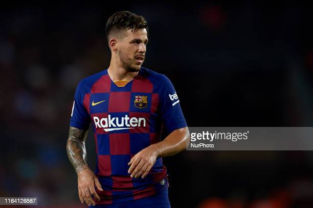 Carles Perez of Barcelona in action during the Liga match between FC Barcelona and Real Betis Balompie at Camp Nou on August 25 2019 in Barcelona...
