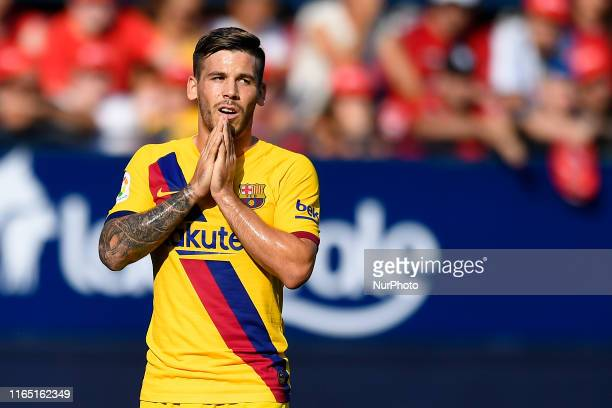 Carles Perez of Barcelona lament a failed occasion during the Liga match between CA Osasuna and FC Barcelona at on August 31 2019 in Pamplona Spain
