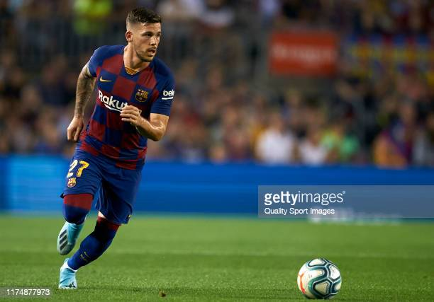Carles Perez of Barcelona runs with the ball during the Liga match between FC Barcelona and Valencia CF at Camp Nou on September 14 2019 in Barcelona...