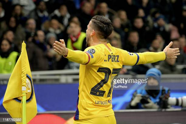 Carles Perez of FC Barcelona celebrates after scoring the his goal during the UEFA Champions League group F match between FC Internazionale and FC...