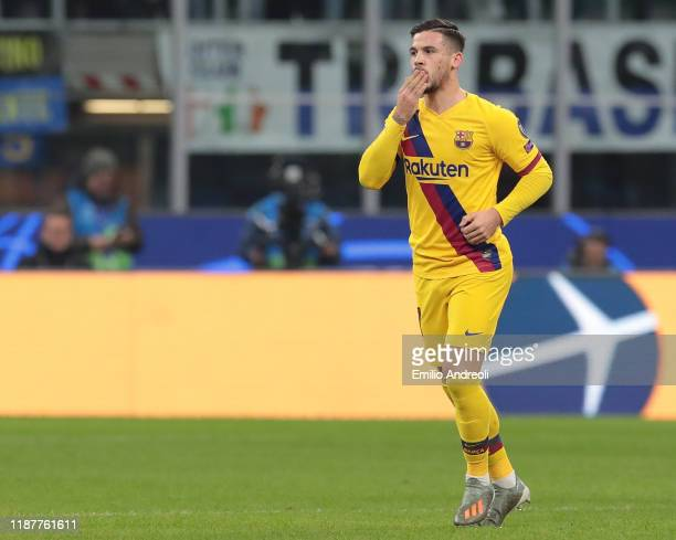 Carles Perez of FC Barcelona celebrates after scoring the opening goal during the UEFA Champions League group F match between FC Internazionale and...