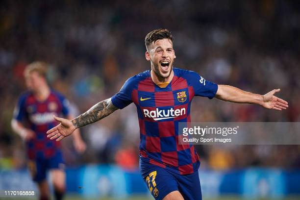 Carles Perez of FC Barcelona celebrates scoring his team's third goal during the Liga match between FC Barcelona and Real Betis Balompie at Camp Nou...