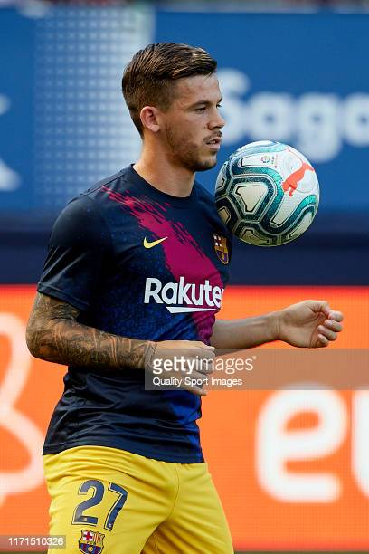 Carles Perez of FC Barcelona during the prematch warm up prior to the Liga match between CA Osasuna and FC Barcelona at El Sadar on August 31 2019 in...