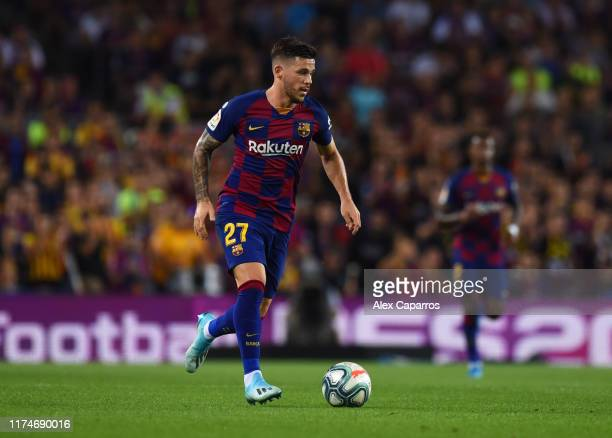 Carles Perez of FC Barcelona in action during the Liga match between FC Barcelona and Valencia CF at Camp Nou on September 14 2019 in Barcelona Spain