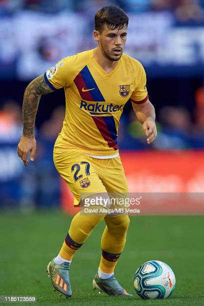 Carles Perez of FC Barcelona in action during the Liga match between Levante UD and FC Barcelona at Ciutat de Valencia on November 2 2019 in Valencia...