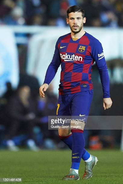 Carles Perez of FC Barcelona looks on during the Copa del Rey Round of 32 match between UD Ibiza and FC Barcelona at Estadi Municipal de Can Misses...