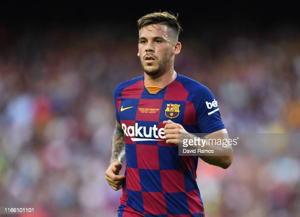 Carles Perez of FC Barcelona looks on during the Joan Gamper trophy friendly match between FC Barcelona and Arsenal at Nou Camp on August 04 2019 in...