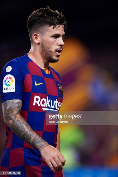 Carles Perez of FC Barcelona looks on during the Liga match between FC Barcelona and Real Betis Balompie at Camp Nou on August 25 2019 in Barcelona...