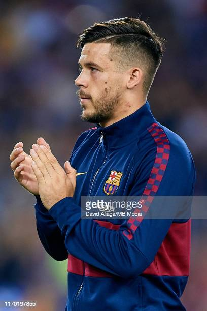 Carles Perez of FC Barcelona looks on prior to the Liga match between FC Barcelona and Real Betis Balompie at Camp Nou on August 25 2019 in Barcelona...