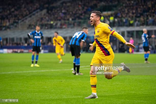 Carles Perez of FC Barcelona reacts after scoring the 01 goal during the UEFA Champions League group F match between Inter and FC Barcelona at...