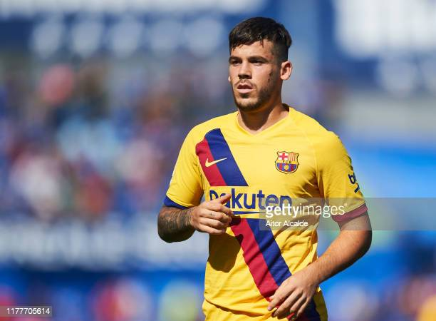 Carles Perez of FC Barcelona reacts during the Liga match between Getafe CF and FC Barcelona at Coliseum Alfonso Perez on September 28 2019 in Getafe...