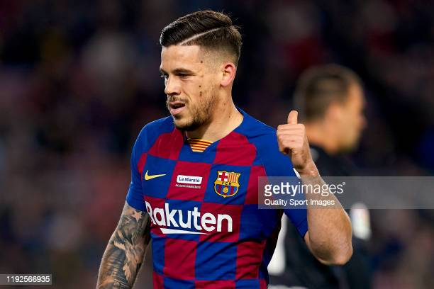 Carles Perez of FC Barcelona reacts during the Liga match between FC Barcelona and RCD Mallorca at Camp Nou on December 07 2019 in Barcelona Spain