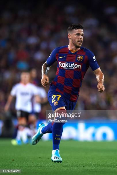 Carles Perez of FC Barcelona runs during the La Liga match between FC Barcelona and Valencia CF at Camp Nou on September 14 2019 in Barcelona Spain