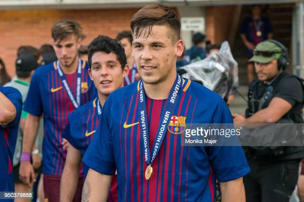 Carles Perez of FC Barcelona with medal during the UEFA Youth League Final match between Chelsea FC and FC Barcelona at Colovray Sports Centre on...