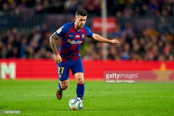 Carles Perez of FC Barcelona with the ball during the Liga match between FC Barcelona and RCD Mallorca at Camp Nou on December 07 2019 in Barcelona...