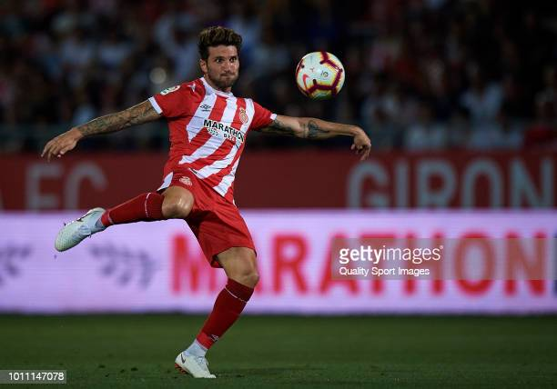 Carles Planas of Girona in action during the pre-season friendly match between Girona and Tottenham Hotspur at Municipal de Montilivi Stadium on...