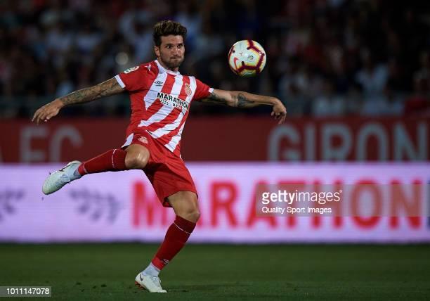 Carles Planas of Girona in action during the preseason friendly match between Girona and Tottenham Hotspur at Municipal de Montilivi Stadium on...